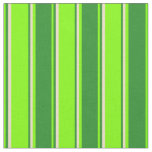 [ Thumbnail: Chartreuse, Forest Green & Tan Stripes Fabric ]