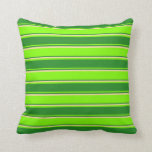 [ Thumbnail: Chartreuse, Forest Green & Tan Stripes Pillow ]