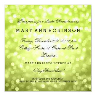 Chartreuse Glitter Lights Elegant Bridal Shower Card