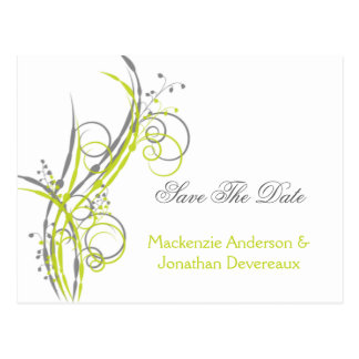 Chartreuse Gray Floral Swirls Save The Date Postcard