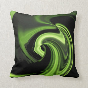 Chartreuse Green Abstract Heart Throw Pillow