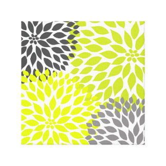 Chartreuse Green and Gray Dahlia mod decor