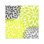 Chartreuse Green and Gray Dahlia mod decor Canvas Print
