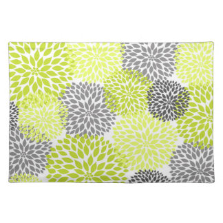 Chartreuse green and Gray Dahlias Mums placemat