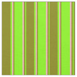 [ Thumbnail: Chartreuse, Green, and Light Pink Lines Pattern Fabric ]