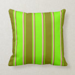 [ Thumbnail: Chartreuse, Green, and Light Pink Lines Pattern Throw Pillow ]