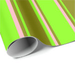 [ Thumbnail: Chartreuse, Green, and Light Pink Lines Pattern Wrapping Paper ]