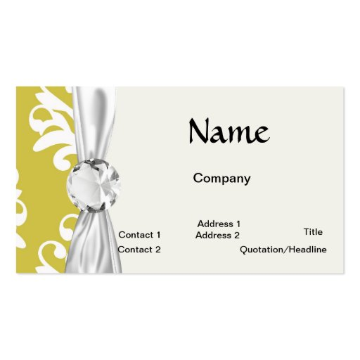 Chartreuse green and white chic damask business card