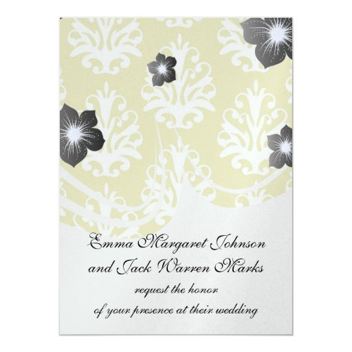 Chartreuse green and white chic damask custom invites