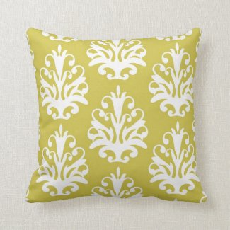 Chartreuse and White Chic Damask Pillow