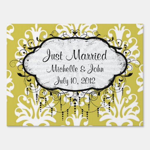Chartreuse green and white chic damask signs