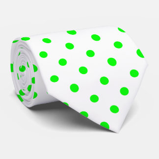 Chartreuse Green and White Polka Dot Necktie