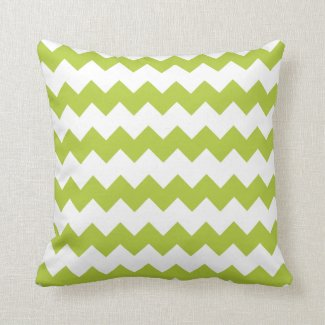 Chartreuse Green Block Chevron Pillow