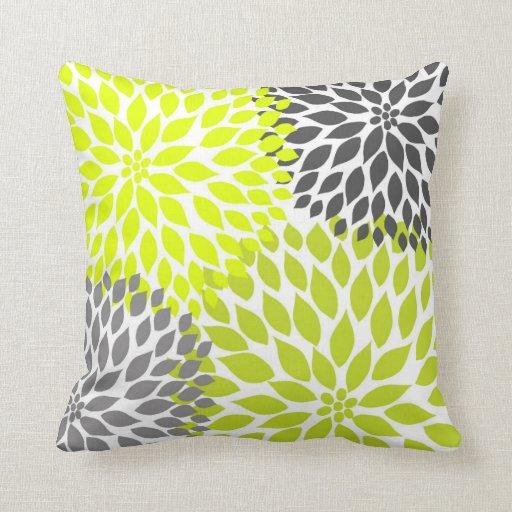 Chartreuse Green Gray Dahlia mod decor sofa pillow