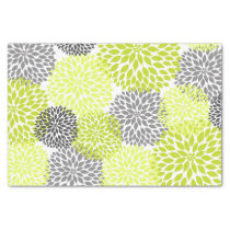 Chartreuse green gray dahlias mums floral tissue paper