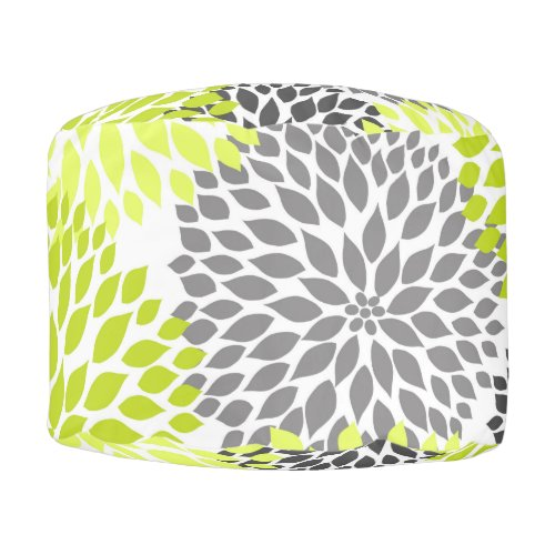 Chartreuse Green Gray Dahlias pouf accent decor