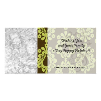 chartreuse green on brown damask design picture card
