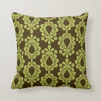 Chartreuse on Brown Damask Pillows