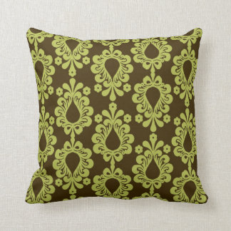 chartreuse green on brown damask design throw pillow
