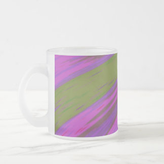 chartreuse green purple pink Color Swish Abstract Frosted Glass Coffee Mug