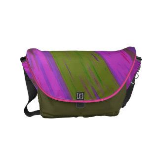 Chartreuse green purple pink Swish Abstract Small Messenger Bag