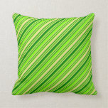 [ Thumbnail: Chartreuse, Green & Tan Colored Lines Throw Pillow ]