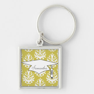 Chartreuse green white chic damask graduation Silver-Colored square keychain