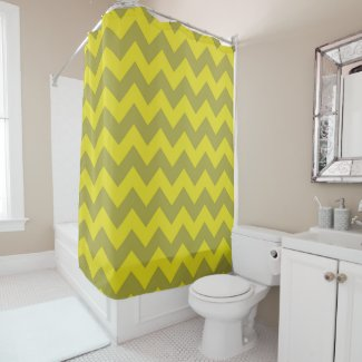 Chartreuse Green Zigzag Shower Curtain