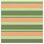 [ Thumbnail: Chartreuse, Grey, Olive Green, Brown & Mint Cream Fabric ]