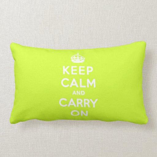 Chartreuse guarde la calma y continúe almohada