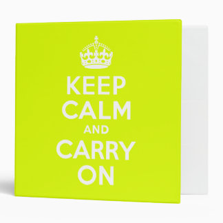 Chartreuse  Keep Calm and Carry On 3 Ring Binders