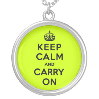 Chartreuse Keep Calm and Carry On (black) Round Pendant Necklace
