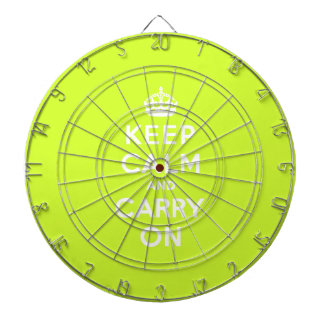 Chartreuse Keep Calm and Carry On Dartboards