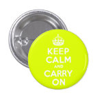 Chartreuse  Keep Calm and Carry On Pinback Button