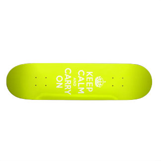 Chartreuse  Keep Calm and Carry On Skateboard