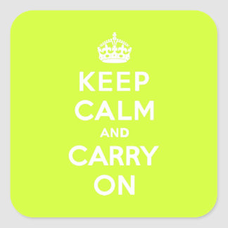 Chartreuse Keep Calm and Carry On Square Sticker