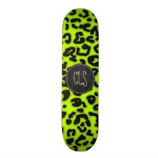 Chartreuse Leopard Animal Print; Chalkboard look Skateboard