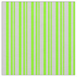 [ Thumbnail: Chartreuse & Light Grey Colored Lined Pattern Fabric ]