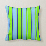 [ Thumbnail: Chartreuse, Light Sky Blue, and Dark Blue Colored Throw Pillow ]