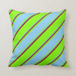 [ Thumbnail: Chartreuse, Light Sky Blue & Dark Red Colored Throw Pillow ]