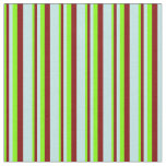 [ Thumbnail: Chartreuse, Maroon, and Turquoise Colored Stripes Fabric ]