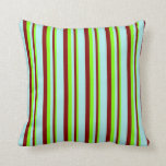 [ Thumbnail: Chartreuse, Maroon, and Turquoise Colored Stripes Throw Pillow ]