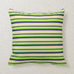 [ Thumbnail: Chartreuse, Midnight Blue, and Tan Pattern Pillow ]