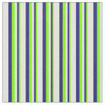 [ Thumbnail: Chartreuse, Midnight Blue & Light Cyan Stripes Fabric ]