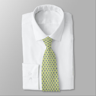 Chartreuse Navy White Tiny Flowers Tie