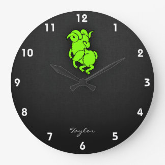 Chartreuse, Neon Green Aires Ram Wall Clock