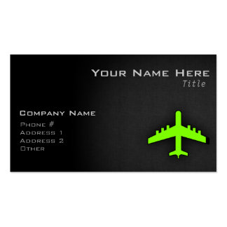Chartreuse, Neon Green Airplane Business Card