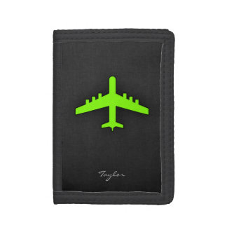 Chartreuse, Neon Green Airplane Tri-fold Wallets