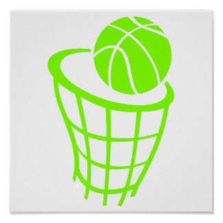 Chartreuse, Neon Green Basketball Poster