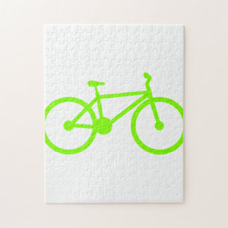 Chartreuse, Neon Green Bicycle Jigsaw Puzzle